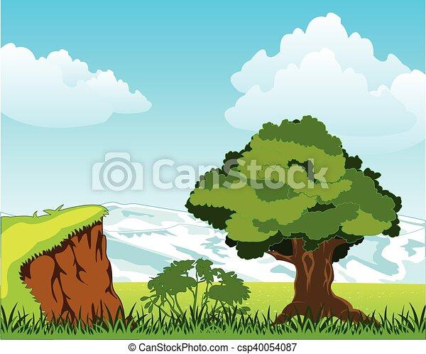 Landscape con montaña y árbol - csp40054087