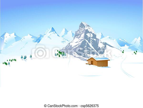 Un paisaje de invierno con montaña - csp5626375