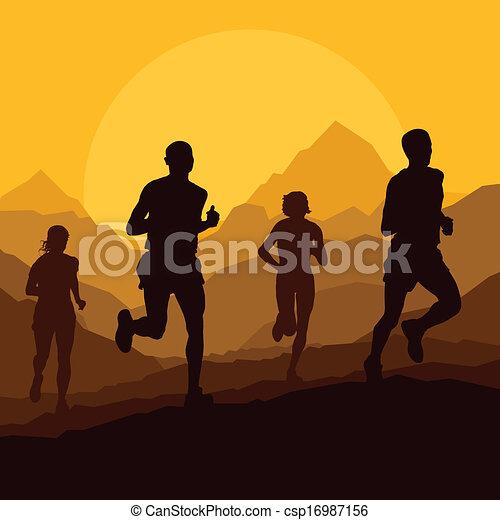 Los corredores de Maratón en la naturaleza salvaje de la montaña - csp16987156