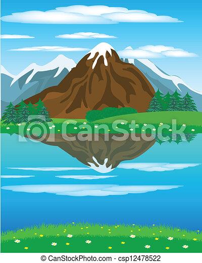 Landscape con la montaña del río - csp12478522