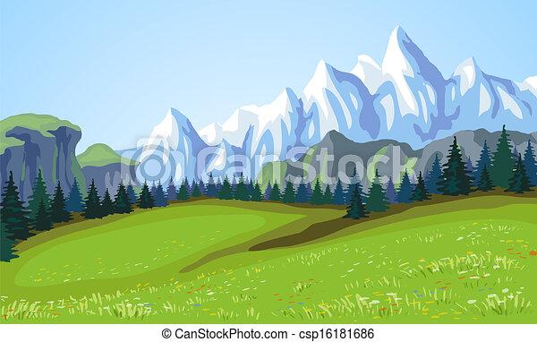 Un paisaje de montaña. - csp16181686