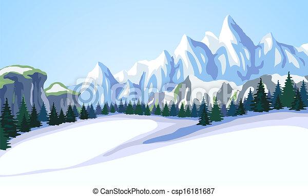 Un paisaje de montaña. - csp16181687