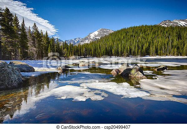 Lago Bear en el parque nacional de la montaña rocosa - csp20499407