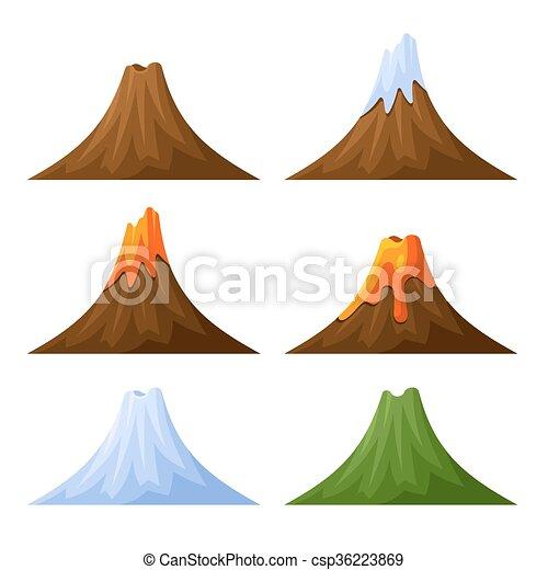Montaña Set Nieve Vector Bosque Volcán Montaña Set Nieve