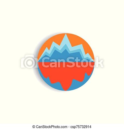 montaña, sombra, vector, logotipo, al aire libre, mar, sol - csp75732914
