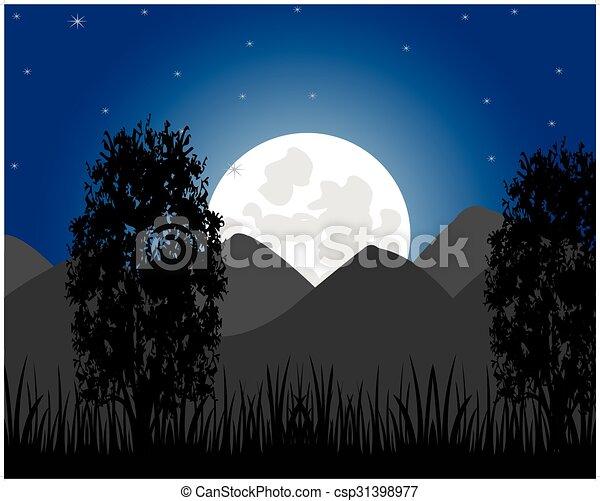 Salida de la luna en la montaña - csp31398977