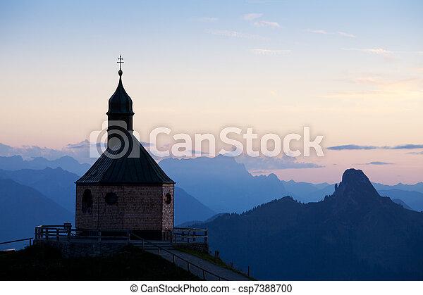 montaña, wallberg, ocaso, capilla - csp7388700