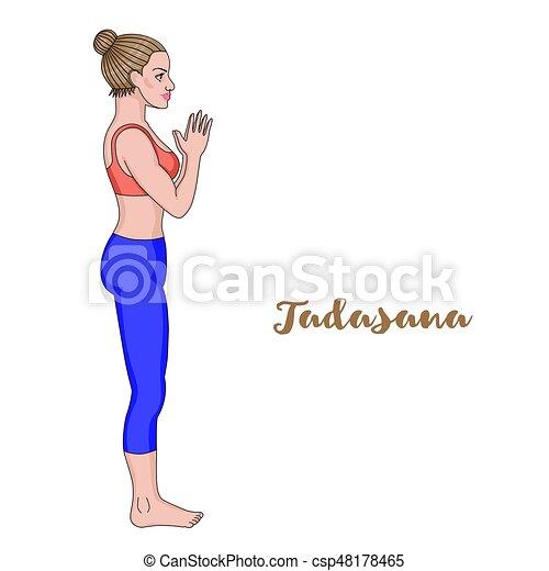 mujeres silueta pose de yoga de montaña tadasana