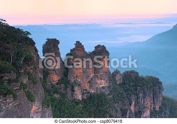 montañas azules, australia, -, tres hermanas - csp8079418