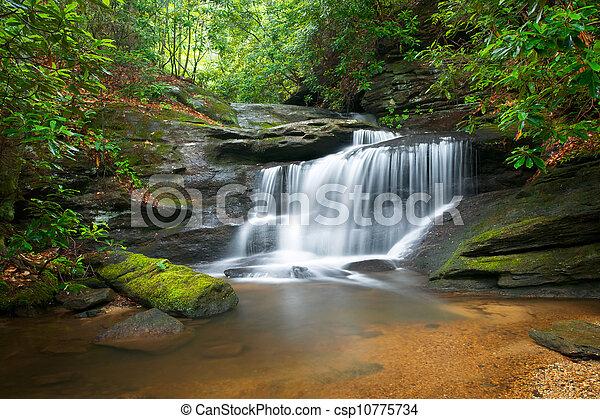 Moción borrosa cascadas naturaleza pacífica paisaje en montañas de cresta azul con árboles verdes exuberantes, rocas y agua que fluyen - csp10775734