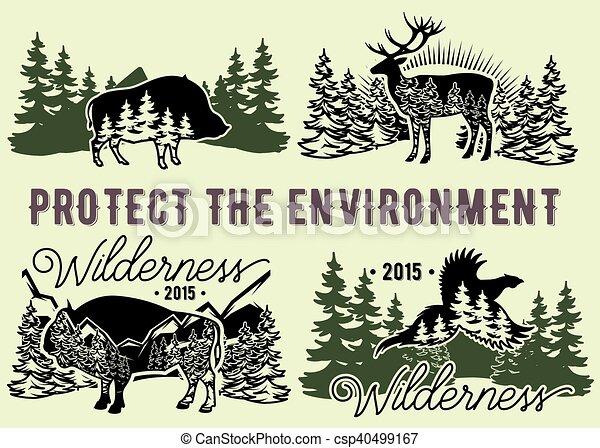 Un conjunto de emblemas con animales salvajes, bosques, montañas - csp40499167