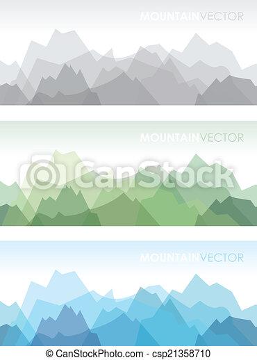Montañas, conjunto, seamless. Montaña, conjunto, fondos, tres ...