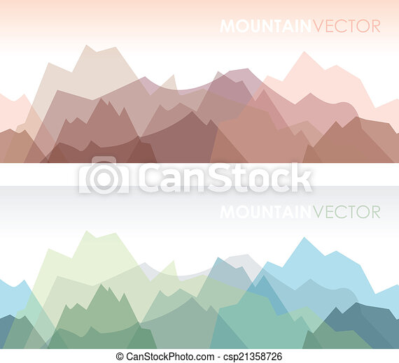 Montañas, conjunto, seamless. Montaña, conjunto, fondos, dos ...