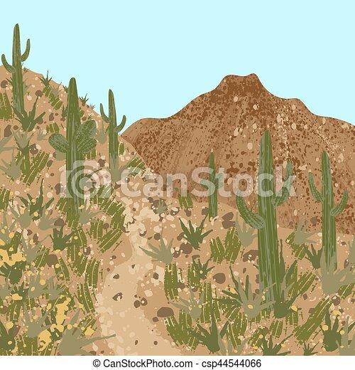 Desierto, cactus y montañas - csp44544066