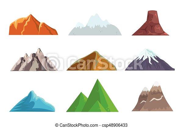 Grficos vectoriales de montaas elementos colinas tela