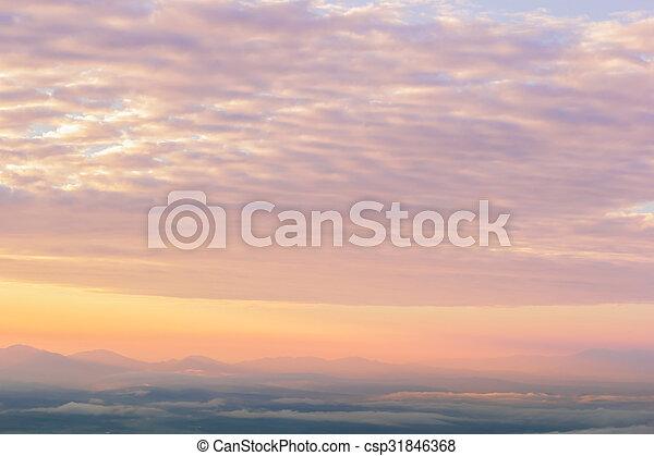 montañas, encima, salida del sol - csp31846368