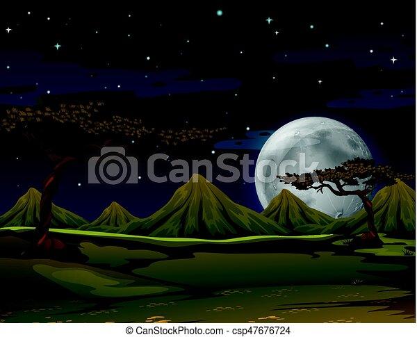 Escena con montañas por la noche - csp47676724