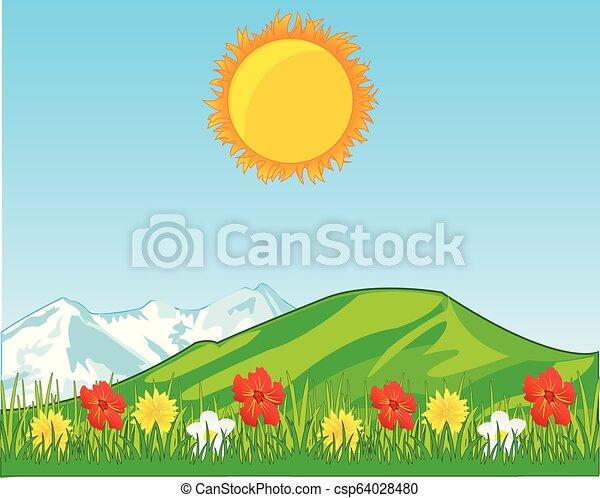 La alegría del año con flores y montañas en el plan de respaldo - csp64028480