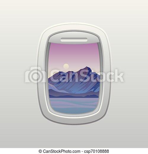 Gris con montañas púrpura por la noche. Vista desde la ventana del avión. Ilustración de vectores sobre fondo blanco. - csp70108888