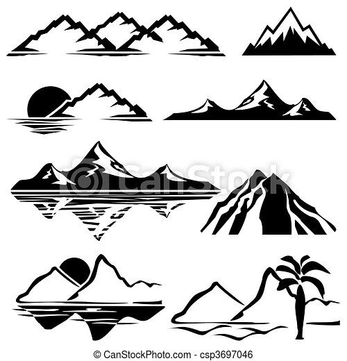 montañas, iconos - csp3697046