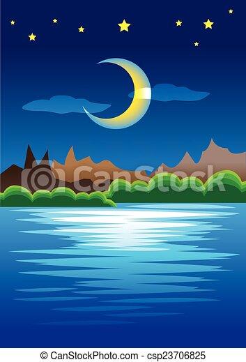 Escena natural pacífica de montañas contra luna creciente en la noche estrellada - csp23706825