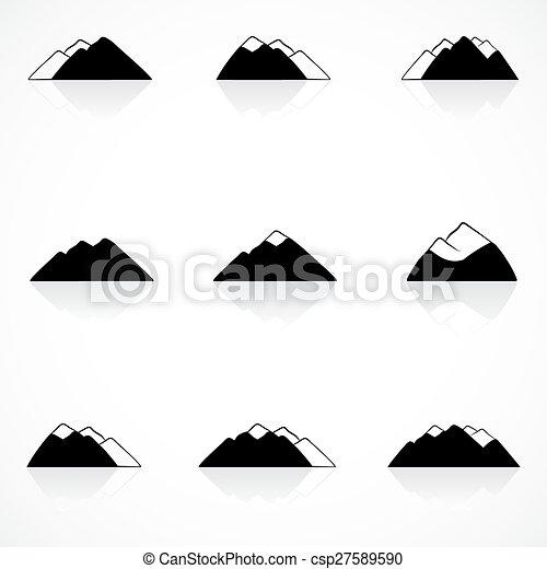 montañas, negro, iconos - csp27589590