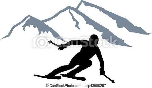Montañas de siluetas Skier - csp43580287