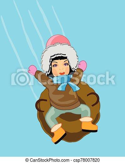 montañas, trineo, inflable, paseos, invierno, niño - csp78007820