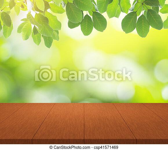 montage, bovenzijde, display, bokeh, hout producten, achtergrond, tafel, groene, jouw - csp41571469