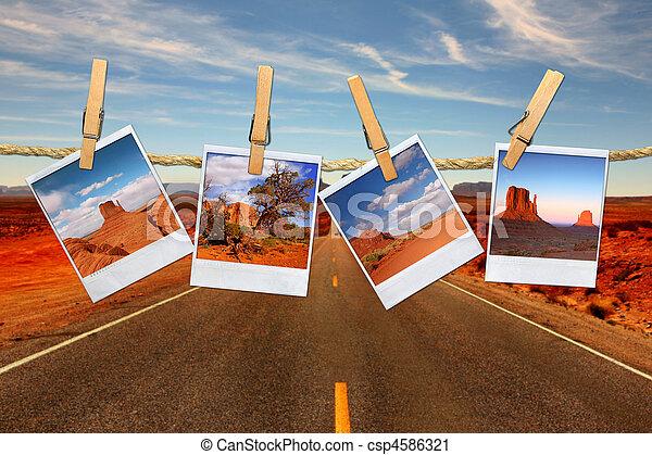 montage, corde, voyage, vacances, polaroid, désert, représenter, vallée, conceptuel, moument, photos, pendre - csp4586321
