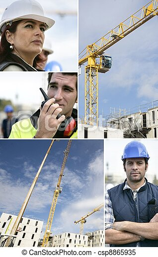 Montage of a team of building workers - csp8865935