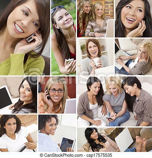Montage of Modern Women Technology Lifestyle - csp17575535