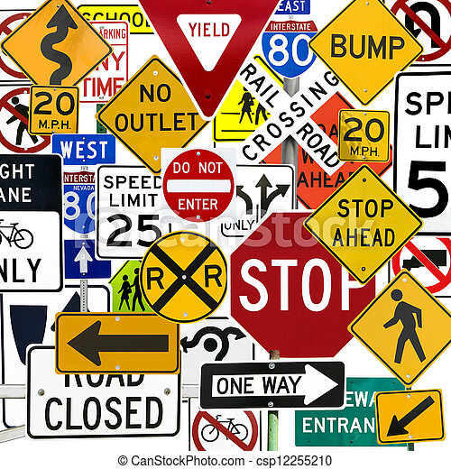 Montage of Numerous Traffic Control Signs and Signals - csp12255210
