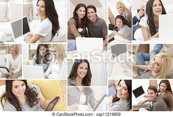 Montage of People Using Laptop Tablet Computer at Home  - csp11219959