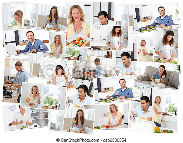 Montage of young adults in the kitchen - csp6300354