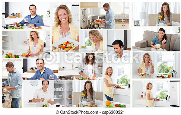 Montage of young adults preparing meals - csp6300321