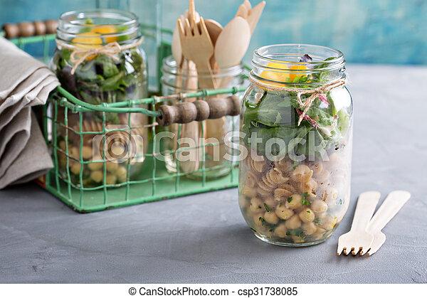 montage, pot, salade, maçon - csp31738085