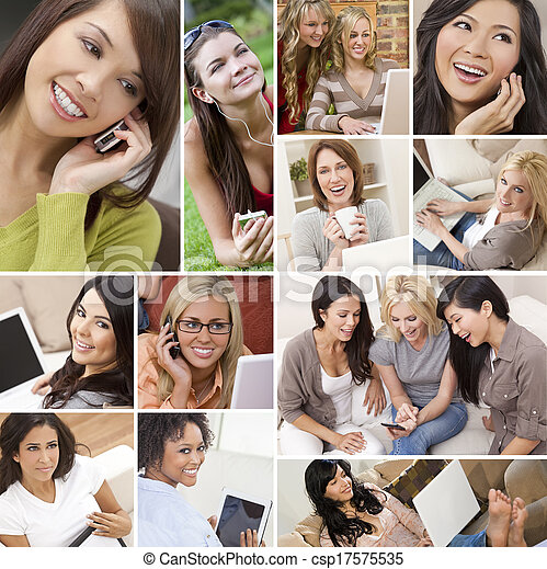 montage, technologie, manière vivre moderne, femmes - csp17575535