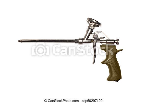 montagem, espuma, arma, isolado, experiência., branca - csp60297129
