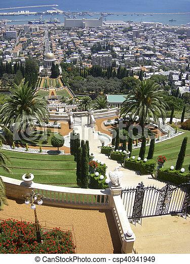 Montagna bahai giardini pendii tempio carmel - Giardini di montagna foto ...
