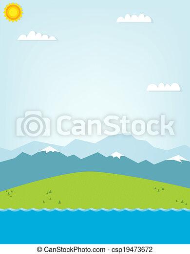 montagna, disinserimento, illustrazione, paesaggio. - csp19473672
