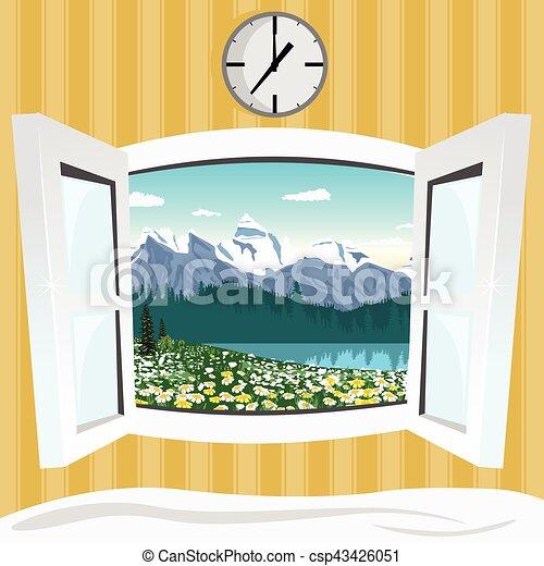Montagna estate finestra aperto paesaggio vista for Disegno di finestra aperta