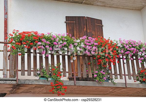 Montagna estate fiorito gerani terrazzo casa montagna