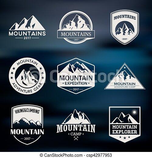 montagna, esterno, organizzazioni, andando gita, icone, set., etichette, avventure, viaggiare, leisure., logotipo, rampicante, eventi, turismo, o, campeggio - csp42977953
