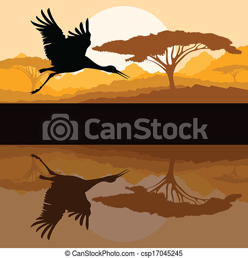 montagna, natura, volare, selvatico, gru, paesaggio - csp17045245