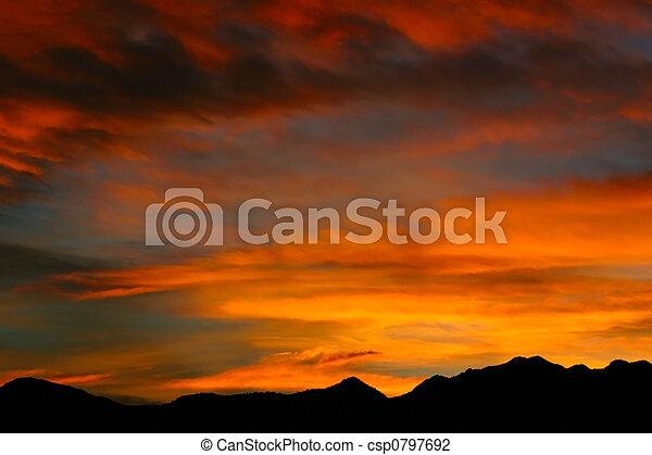 montagna, roccioso, alba - csp0797692
