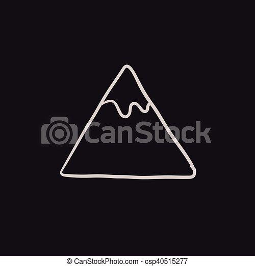 montagna, schizzo, icon. - csp40515277