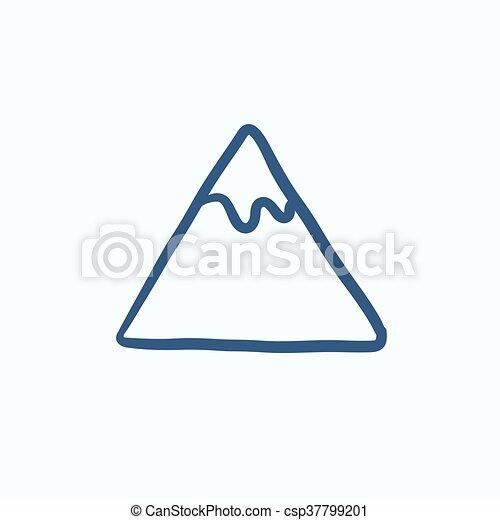 montagna, schizzo, icon. - csp37799201
