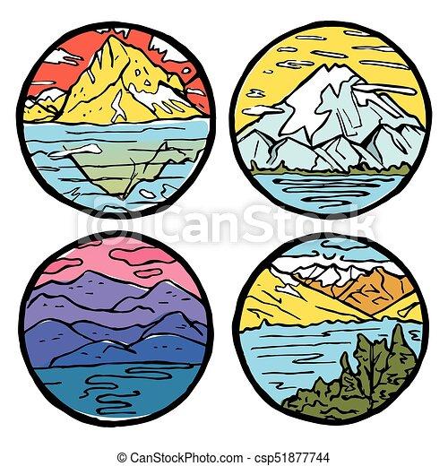 Montagna Set Paesaggio Icona
