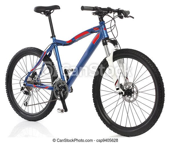 montagna, sopra, bicicletta, sfondo bianco - csp9405628